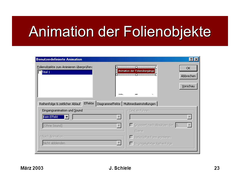 Animation der Folienobjekte