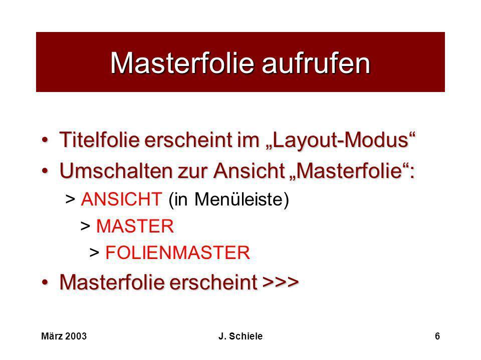 """Masterfolie aufrufen Titelfolie erscheint im """"Layout-Modus"""