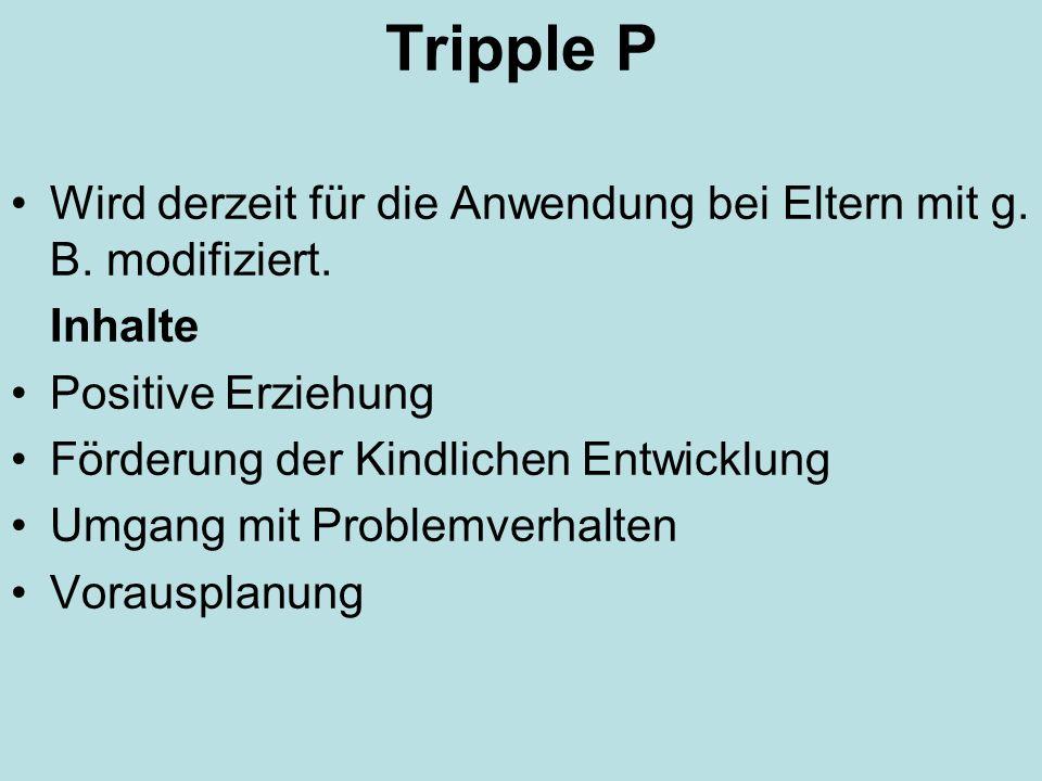 Tripple PWird derzeit für die Anwendung bei Eltern mit g. B. modifiziert. Inhalte. Positive Erziehung.