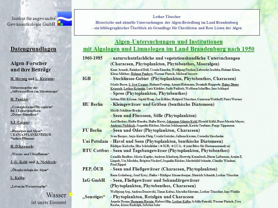 Lothar Täuscher Historische und aktuelle Untersuchungen der Algen-Besiedlung im Land Brandenburg - ein bibliographischer Überblick als Grundlage für Checklisten und Rote Listen der Algen