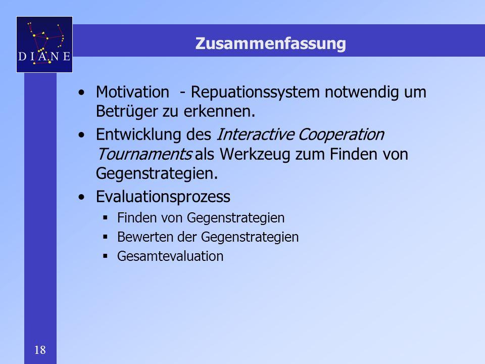 Motivation - Repuationssystem notwendig um Betrüger zu erkennen.