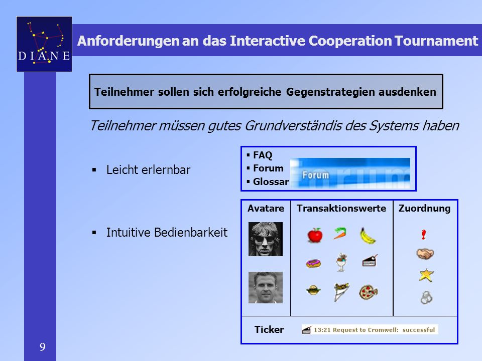 Anforderungen an das Interactive Cooperation Tournament