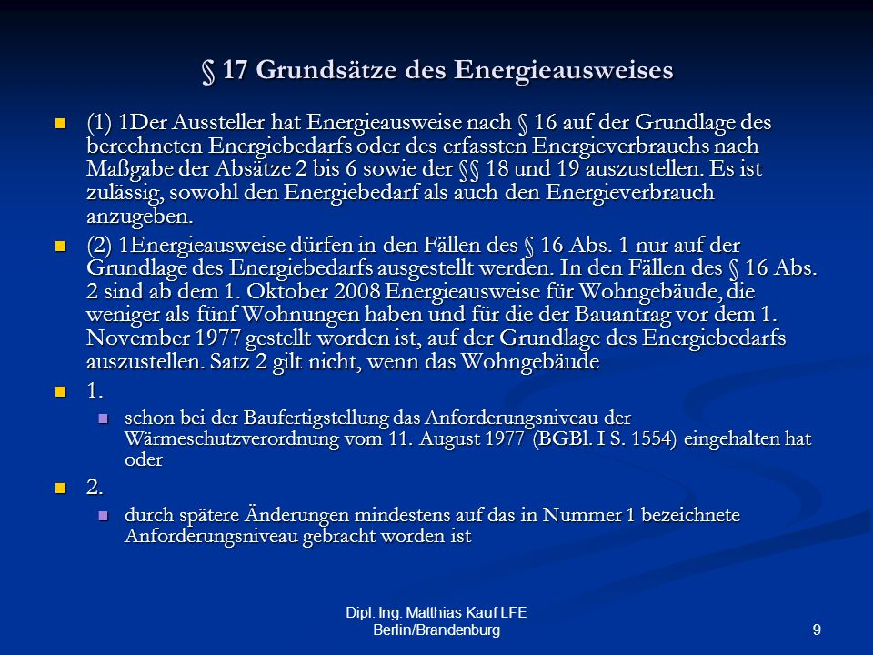 § 17 Grundsätze des Energieausweises