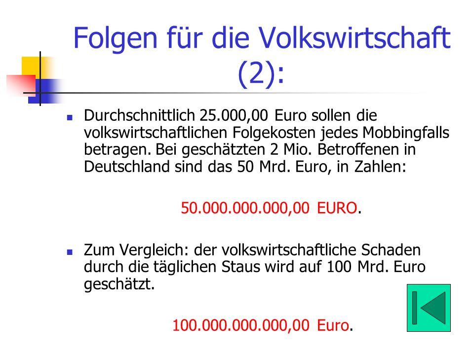 Folgen für die Volkswirtschaft (2):