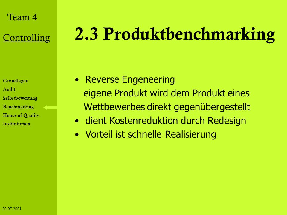 2.3 Produktbenchmarking Reverse Engeneering