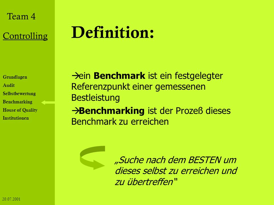 Definition: ein Benchmark ist ein festgelegter Referenzpunkt einer gemessenen Bestleistung.