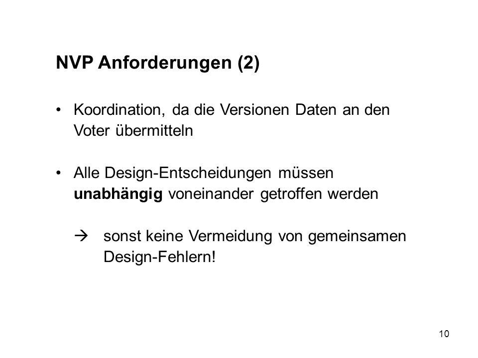 NVP Anforderungen (2) Koordination, da die Versionen Daten an den Voter übermitteln.