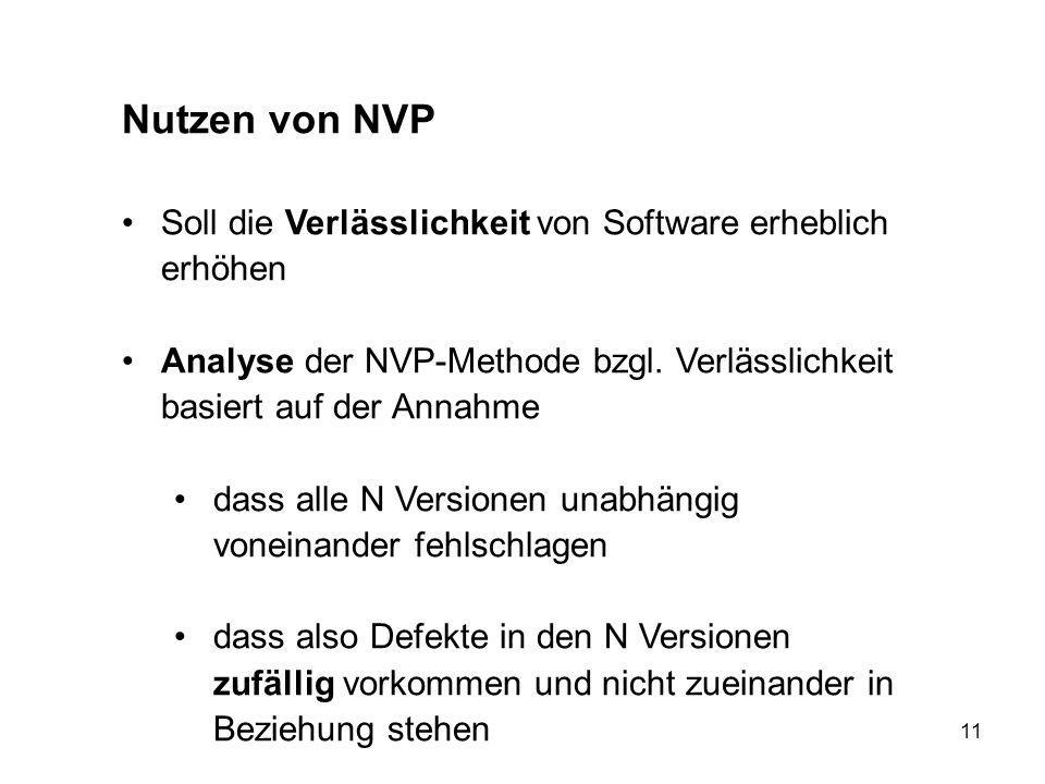 Nutzen von NVP Soll die Verlässlichkeit von Software erheblich erhöhen