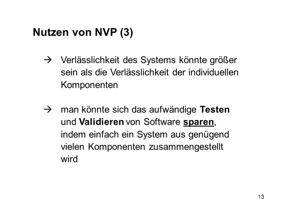 Nutzen von NVP (3)  Verlässlichkeit des Systems könnte größer sein als die Verlässlichkeit der individuellen Komponenten.