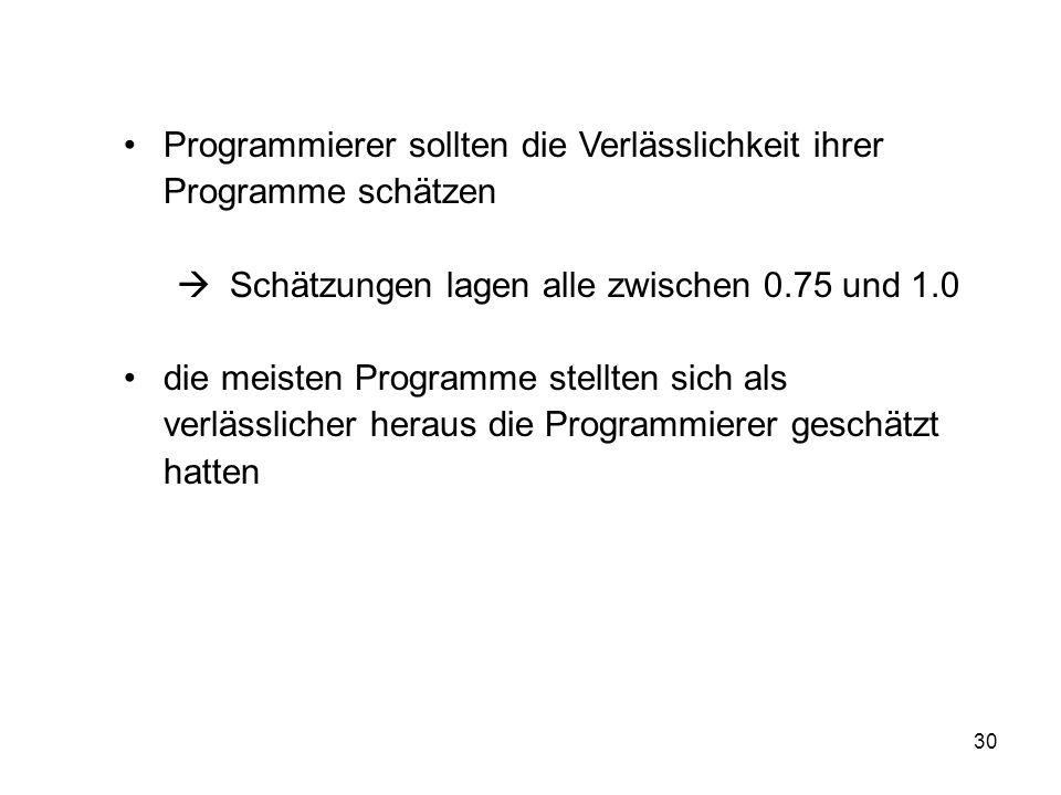 Programmierer sollten die Verlässlichkeit ihrer Programme schätzen