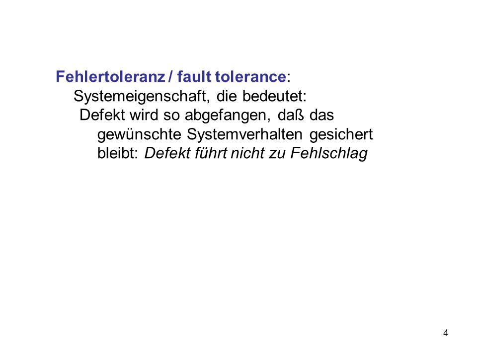 Fehlertoleranz / fault tolerance: Systemeigenschaft, die bedeutet: