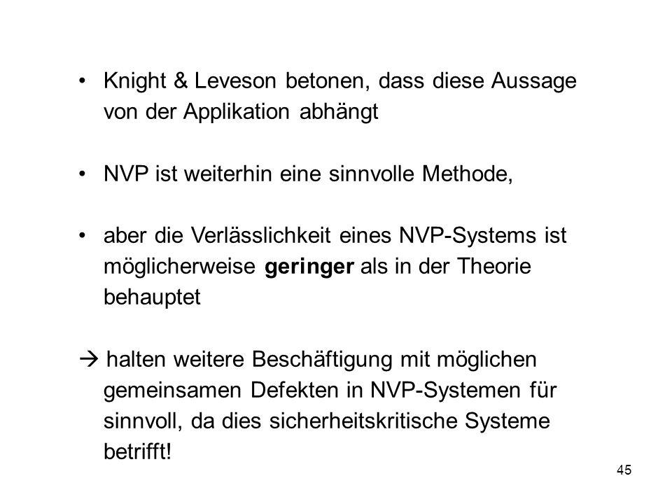 Knight & Leveson betonen, dass diese Aussage von der Applikation abhängt