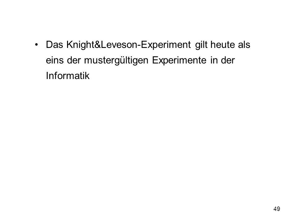 Das Knight&Leveson-Experiment gilt heute als eins der mustergültigen Experimente in der Informatik