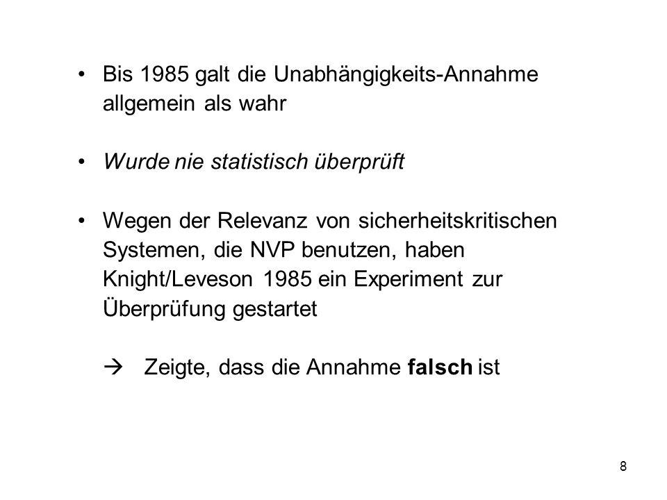 Bis 1985 galt die Unabhängigkeits-Annahme allgemein als wahr