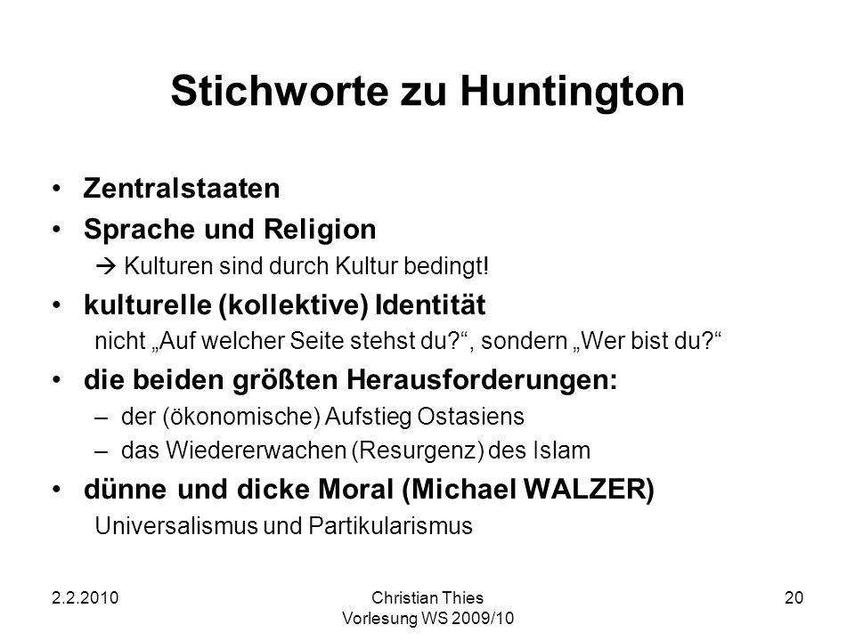 Stichworte zu Huntington