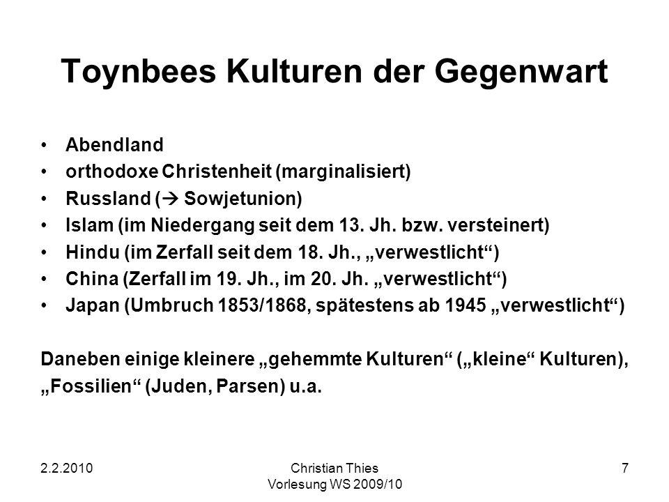 Toynbees Kulturen der Gegenwart