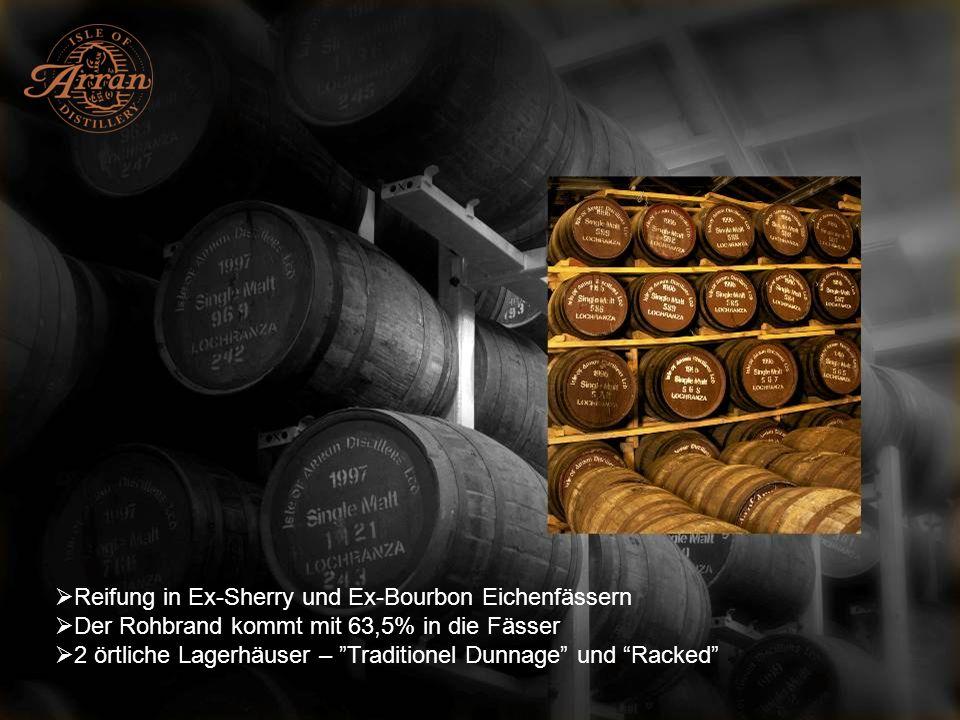 Reifung in Ex-Sherry und Ex-Bourbon Eichenfässern