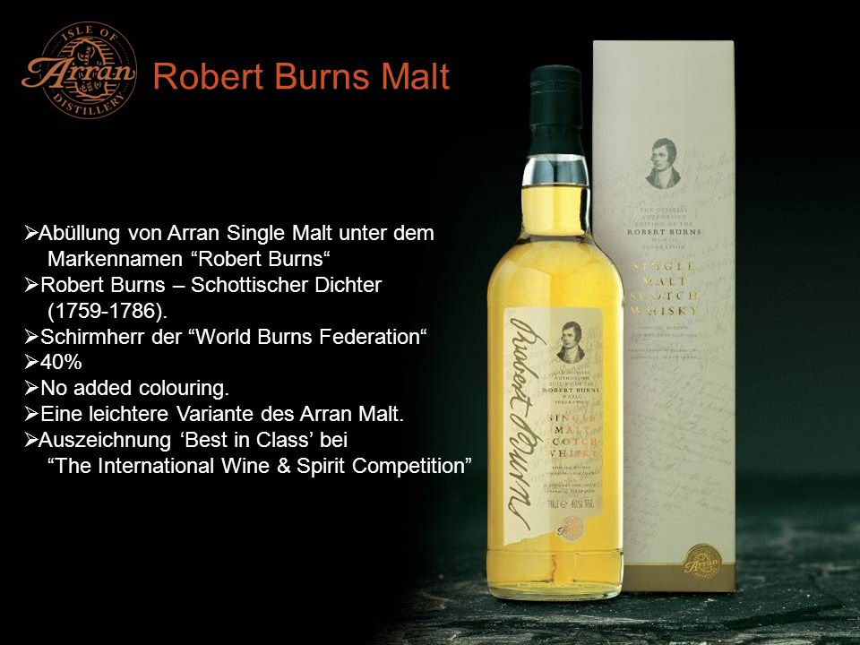 Robert Burns Malt Abüllung von Arran Single Malt unter dem
