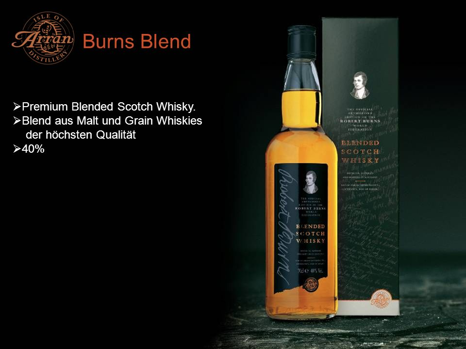 Burns Blend Premium Blended Scotch Whisky.