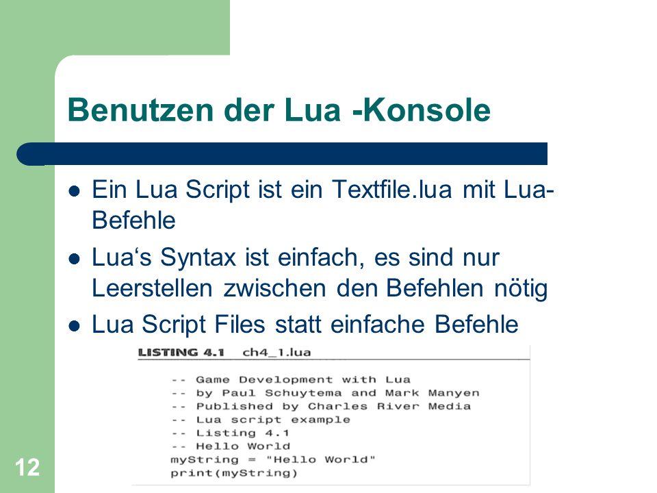 Benutzen der Lua -Konsole