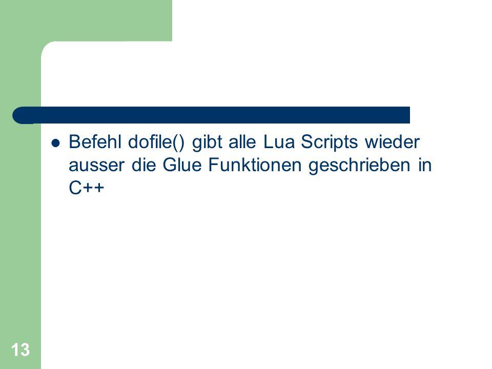 Befehl dofile() gibt alle Lua Scripts wieder ausser die Glue Funktionen geschrieben in C++