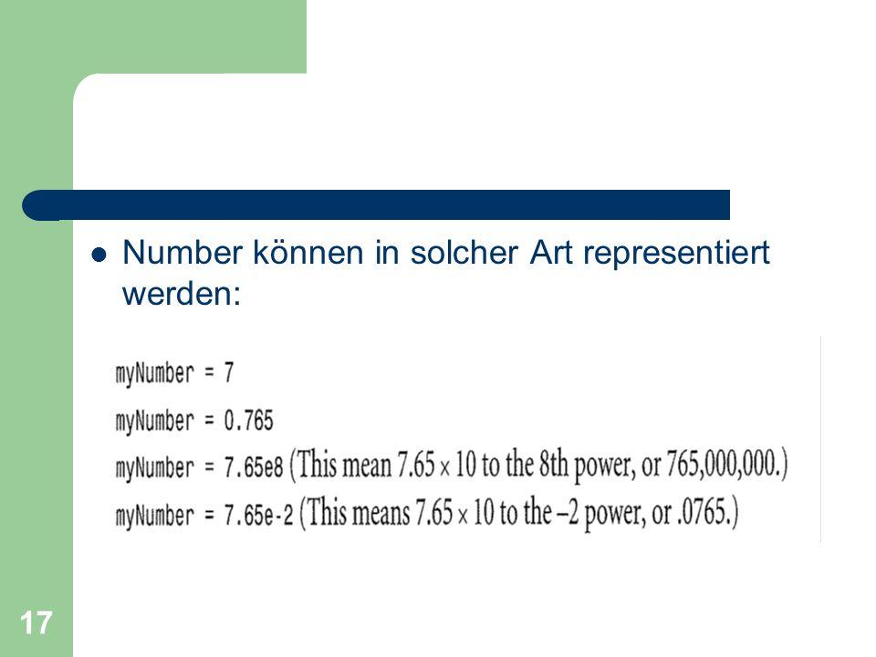 Number können in solcher Art representiert werden:
