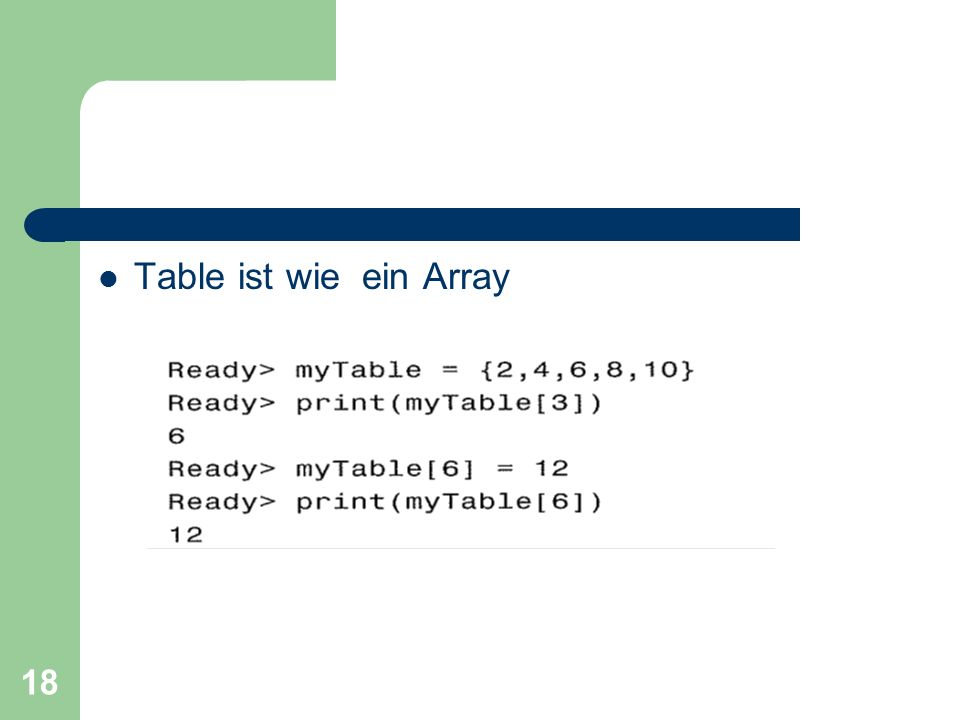 Table ist wie ein Array