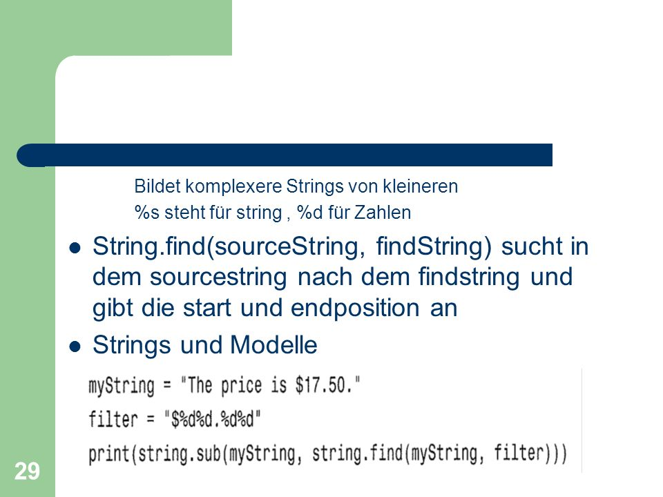 Bildet komplexere Strings von kleineren