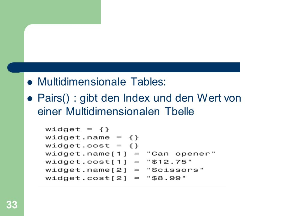 Multidimensionale Tables: