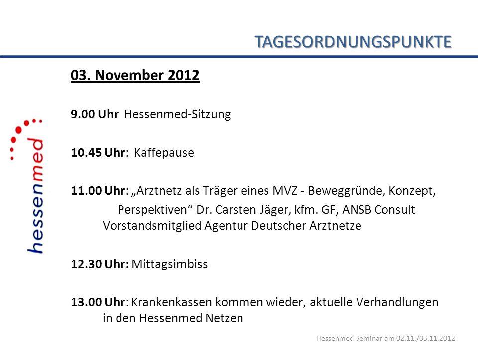 TAGESORDNUNGSPUNKTE 03. November 2012 9.00 Uhr Hessenmed-Sitzung