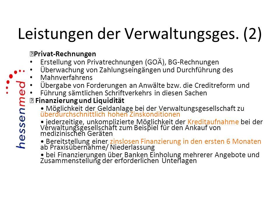 Leistungen der Verwaltungsges. (2)