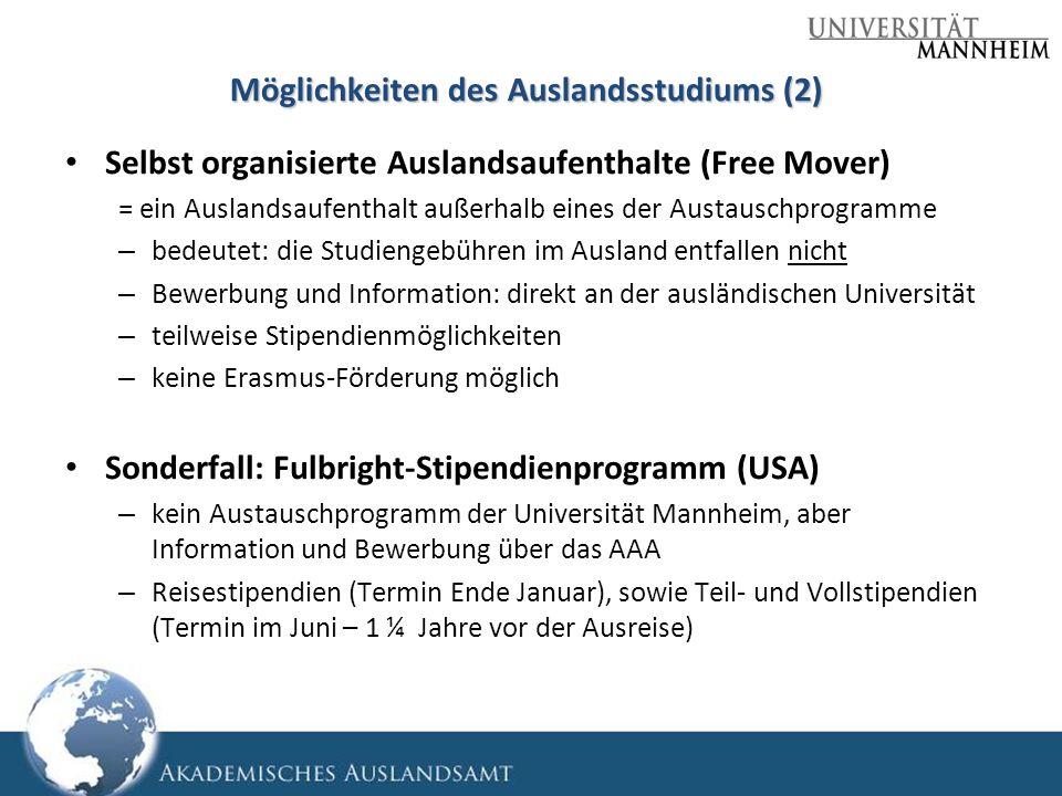 Möglichkeiten des Auslandsstudiums (2)