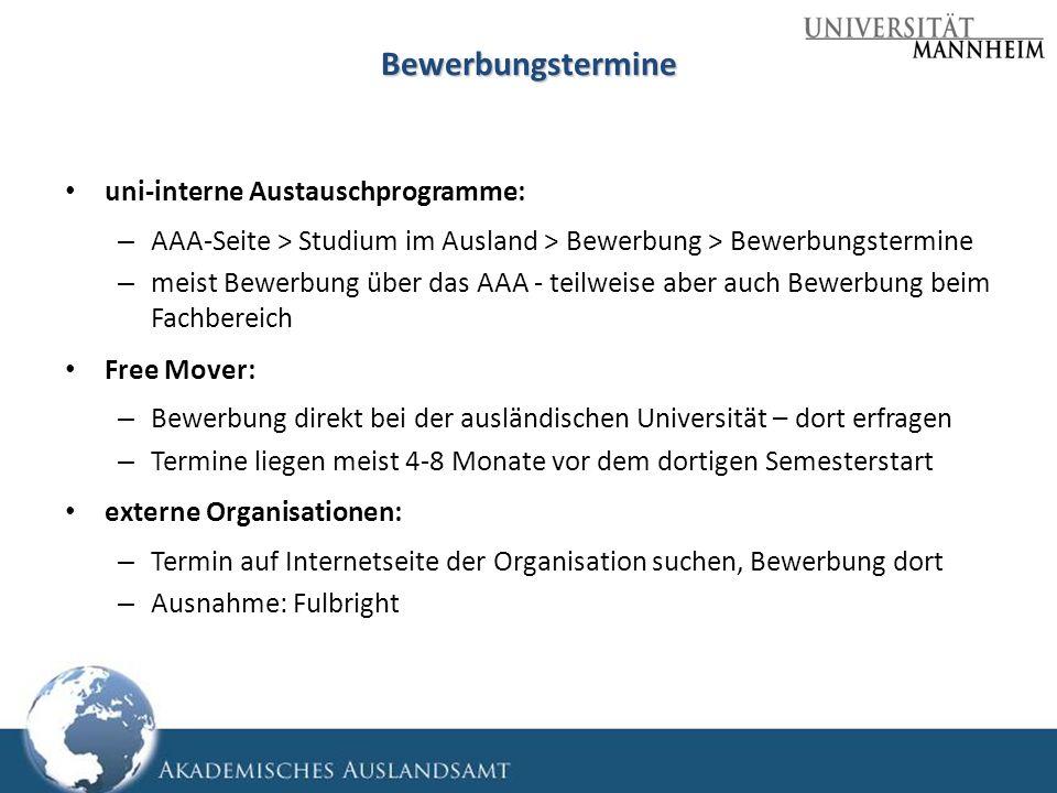 Bewerbungstermine uni-interne Austauschprogramme:
