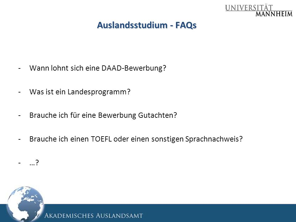 Auslandsstudium - FAQs