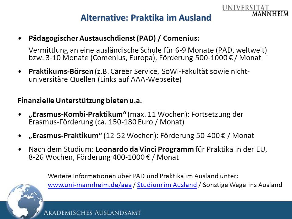 Alternative: Praktika im Ausland