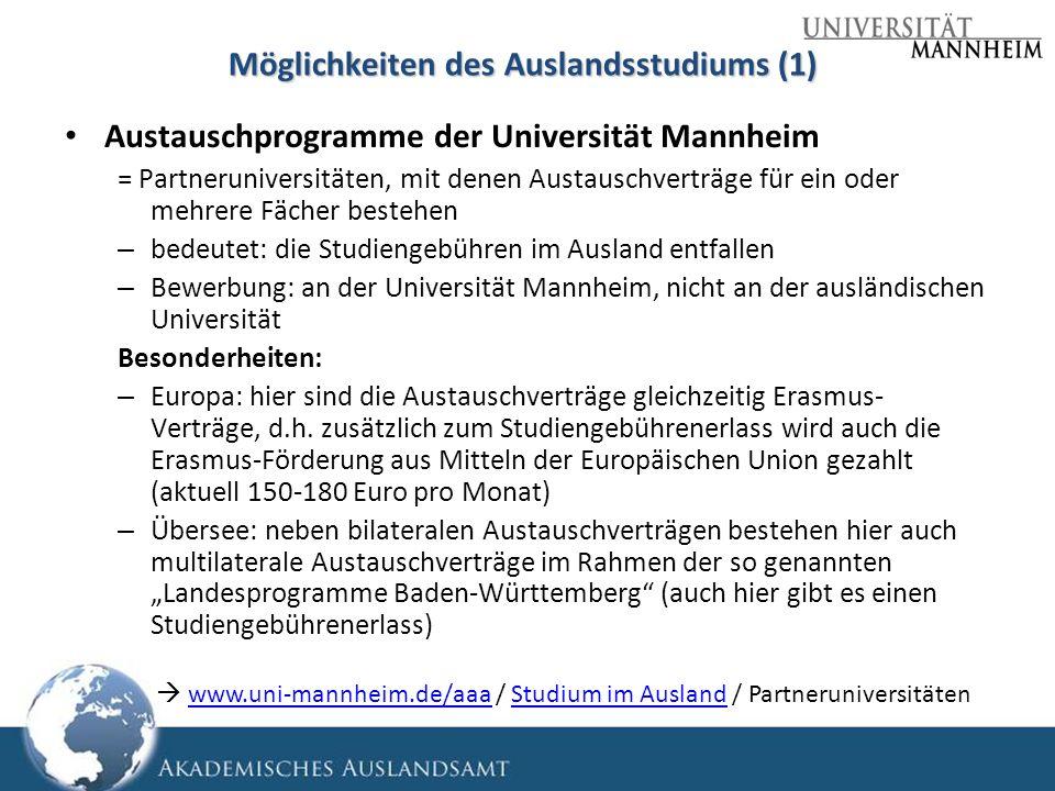 Möglichkeiten des Auslandsstudiums (1)