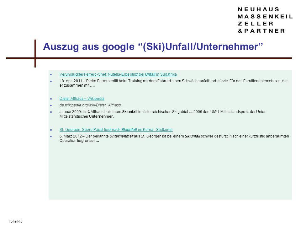 Auszug aus google (Ski)Unfall/Unternehmer
