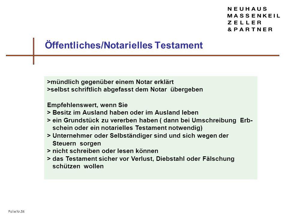 Öffentliches/Notarielles Testament