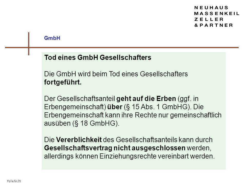 Tod eines GmbH Gesellschafters
