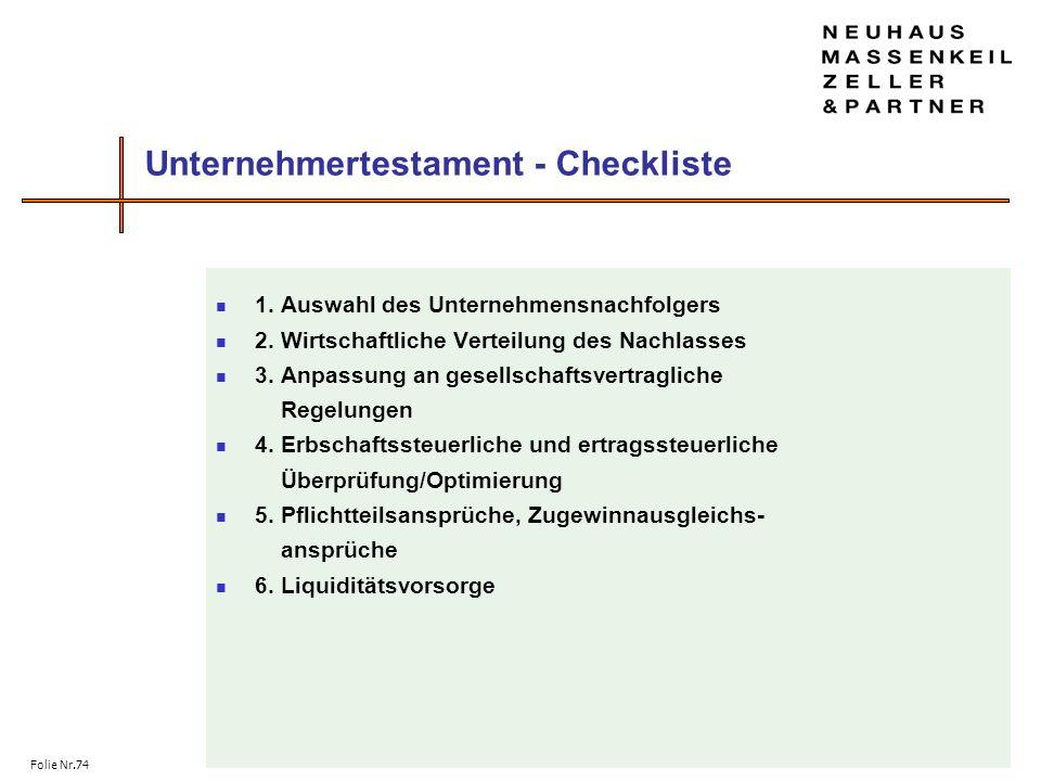 Unternehmertestament - Checkliste