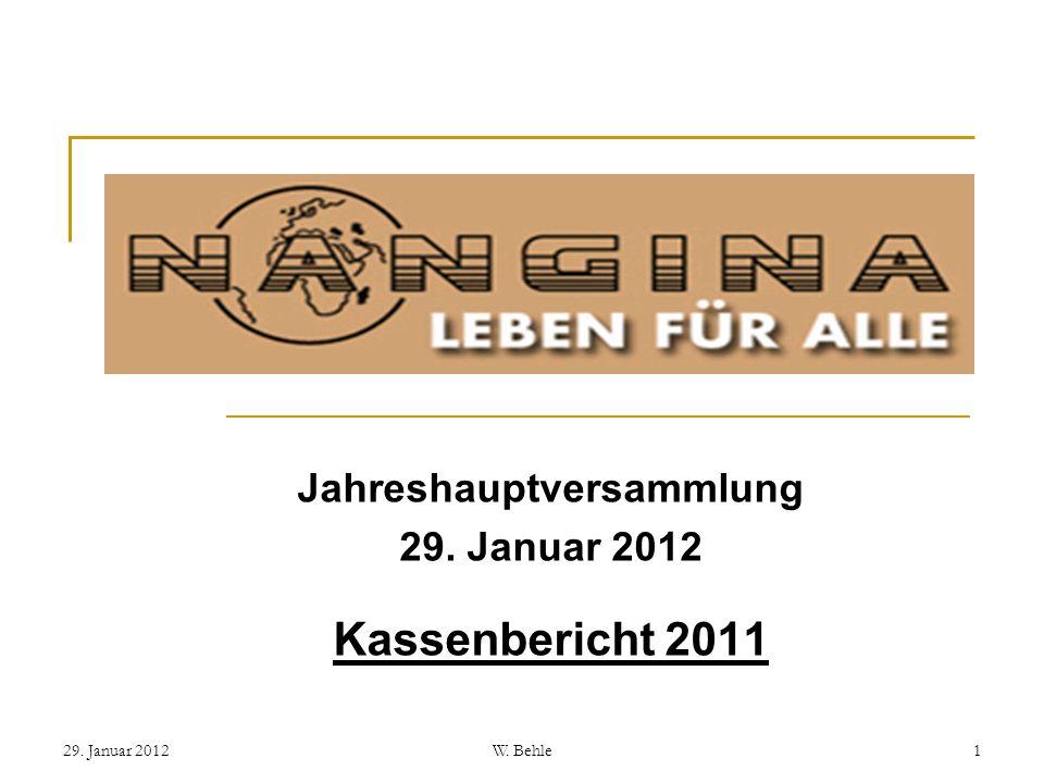 Jahreshauptversammlung 29. Januar 2012 Kassenbericht 2011