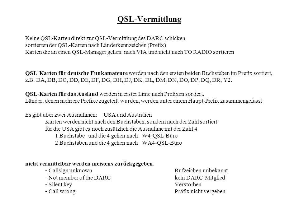 QSL-Vermittlung Keine QSL-Karten direkt zur QSL-Vermittlung des DARC schicken. sortierten der QSL-Karten nach Länderkennzeichen (Prefix)
