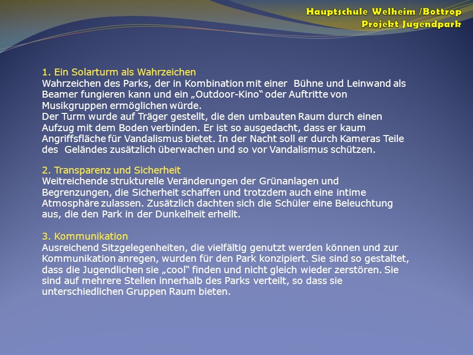 Hauptschule Welheim /Bottrop Projekt Jugendpark