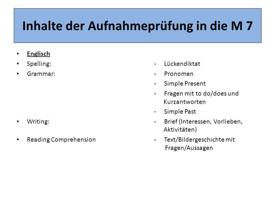 Inhalte der Aufnahmeprüfung in die M 7