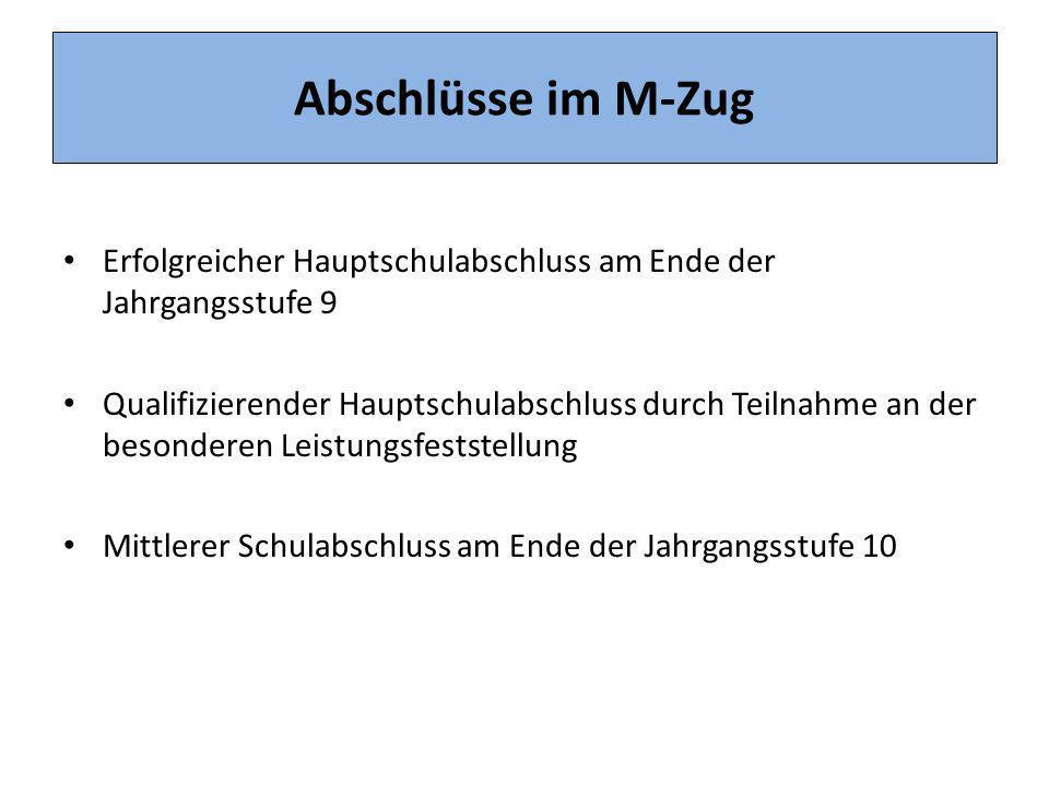 Abschlüsse im M-Zug Erfolgreicher Hauptschulabschluss am Ende der Jahrgangsstufe 9.
