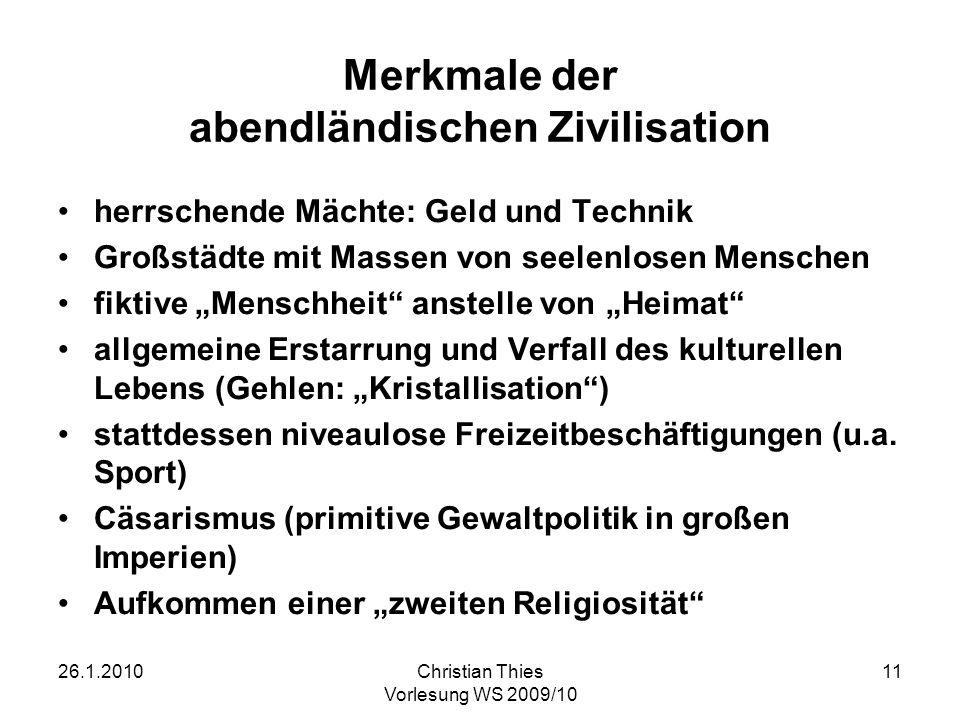 Merkmale der abendländischen Zivilisation