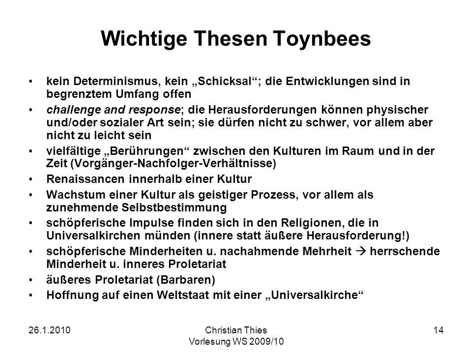 Wichtige Thesen Toynbees
