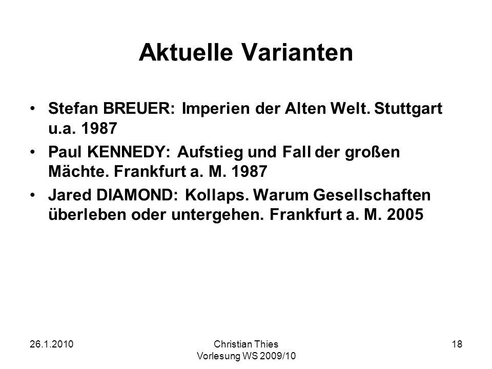 Aktuelle VariantenStefan BREUER: Imperien der Alten Welt. Stuttgart u.a. 1987.