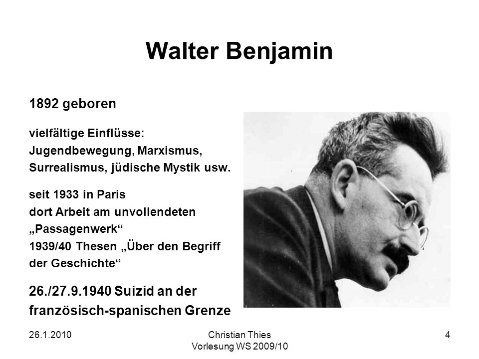 Walter Benjamin 1892 geboren 26./27.9.1940 Suizid an der