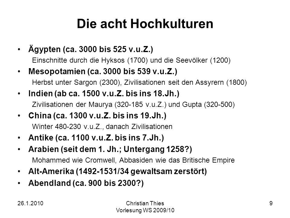 Die acht Hochkulturen Ägypten (ca. 3000 bis 525 v.u.Z.)